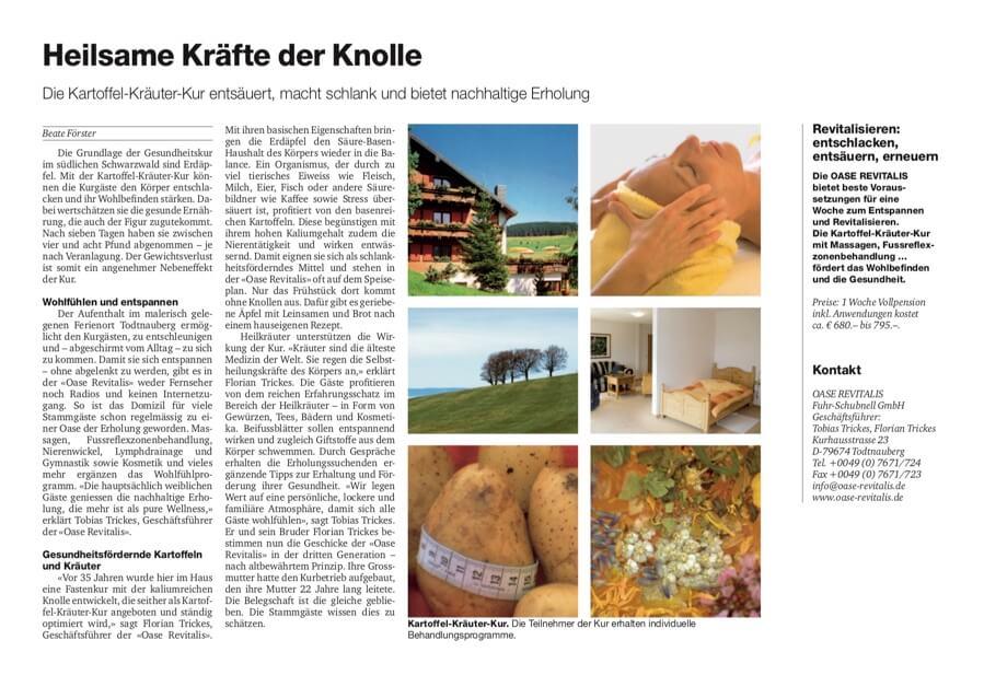 Artikel über die Oase Revitalis, erschienen in der Basler Zeitung